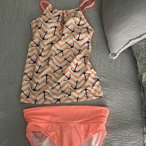 Tankini peach anchor swimsuit